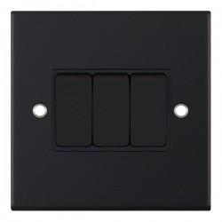Selectric 5M Matt Black 3 Gang 10A 2 Way Switch with Black Insert