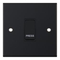 Selectric 5M Matt Black 1 Gang 10A Push to Make Switch with Black Insert