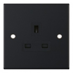 Selectric 5M Matt Black 1 Gang 13A Unswitched Socket with Black Insert