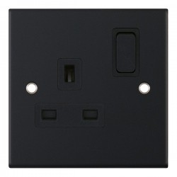 Selectric 5M Matt Black 1 Gang 13A DP Switched Socket with Black Insert