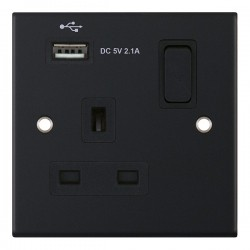 Selectric 5M Matt Black 1 Gang 13A Switched Socket with USB Outlet and Black Insert