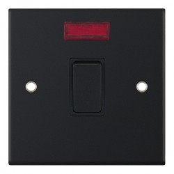 Selectric 5M Matt Black 1 Gang 20A DP Switch with Neon and Black Insert