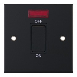 Selectric 5M Matt Black 1 Gang 45A DP Switch with Neon and Black Insert