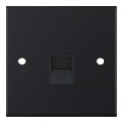 Selectric 5M Matt Black 1 Gang Telephone Master Socket with Black Insert