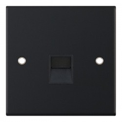 Selectric 5M Matt Black 1 Gang Telephone Secondary Socket with Black Insert