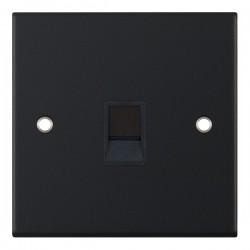 Selectric 5M Matt Black 1 Gang RJ45 Socket with Black Insert