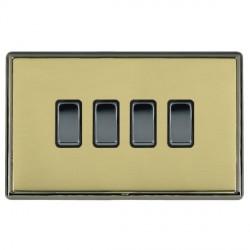 Hamilton Linea-Rondo CFX Black Nickel/Polished Brass 4 Gang 20amp 2 Way Rocker with Black Insert