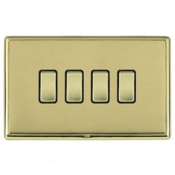 Hamilton Linea-Rondo CFX Polished Brass/Polished Brass 4 Gang 20amp 2 Way Rocker with Black Insert