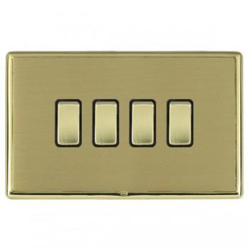 Hamilton Linea-Rondo CFX Polished Brass/Satin Brass 4 Gang 20amp 2 Way Rocker with Black Insert