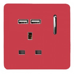 Trendi Strawberry 1 Gang 13A Short Switched Socket with 2 USB Outlets