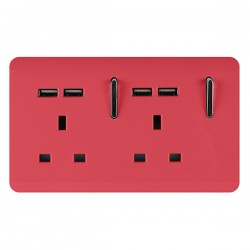 Trendi Strawberry 2 Gang 13A Short Switched Socket with 4 USB Outlets