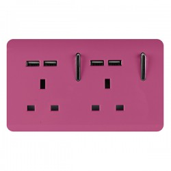Trendi Pink 2 Gang 13A Short Switched Socket with 4 USB Outlets