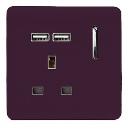 Trendi Plum 1 Gang 13A Short Switched Socket with 2 USB Outlets