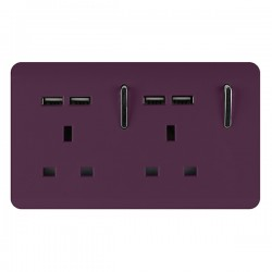 Trendi Plum 2 Gang 13A Short Switched Socket with 4 USB Outlets