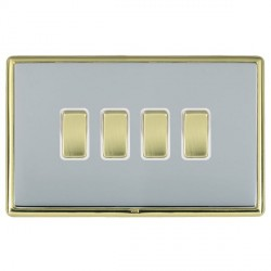 Hamilton Linea-Rondo CFX Polished Brass/Bright Steel 4 Gang 10amp 2 Way Rocker with White Insert