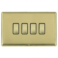 Hamilton Linea-Rondo CFX Polished Brass/Polished Brass 4 Gang 10amp 2 Way Rocker with Black Insert