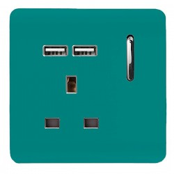 Trendi Bright Teal 1 Gang 13A Short Switched Socket with 2 USB Outlets