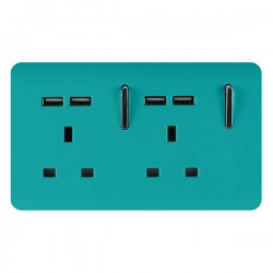 Trendi Bright Teal 2 Gang 13A Short Switched Socket with 4 USB Outlets