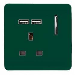 Trendi Dark Green 1 Gang 13A Short Switched Socket with 2 USB Outlets