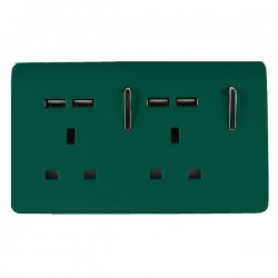 Trendi Dark Green 2 Gang 13A Short Switched Socket with 4 USB Outlets