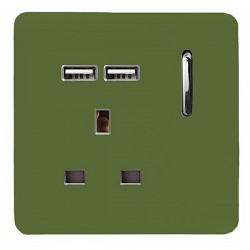 Trendi Moss Green 1 Gang 13A Short Switched Socket with 2 USB Outlets