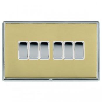 Hamilton Linea-Rondo CFX Bright Chrome/Polished Brass 6 Gang 10amp 2 Way Rocker with White Insert