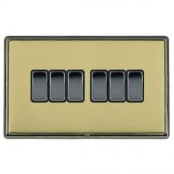 Hamilton Linea-Rondo CFX Black Nickel/Polished Brass 6 Gang 10amp 2 Way Rocker with Black Insert