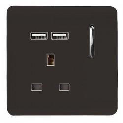 Trendi Dark Brown 1 Gang 13A Short Switched Socket with 2 USB Outlets