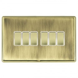 Hamilton Linea-Rondo CFX Polished Brass/Antique Brass 6 Gang 10amp 2 Way Rocker with White Insert