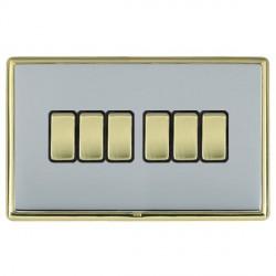 Hamilton Linea-Rondo CFX Polished Brass/Bright Steel 6 Gang 10amp 2 Way Rocker with Black Insert