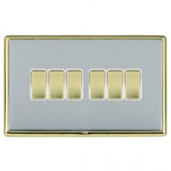 Hamilton Linea-Rondo CFX Polished Brass/Bright Steel 6 Gang 10amp 2 Way Rocker with White Insert