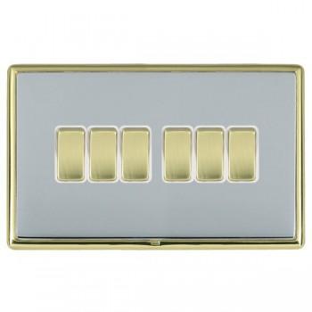 Hamilton Linea-Rondo CFX Polished Brass/Bright Steel 6 Gang 10amp 2 Way Rocker with White Insert