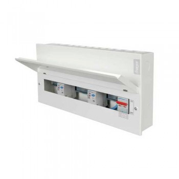 Hager Design 10 Metal 16 Way Configurable High Integrity Consumer Unit with Round Knockouts - 100A Switch + 2x100A 30mA RCCB