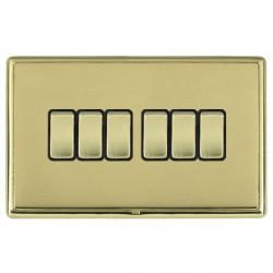 Hamilton Linea-Rondo CFX Polished Brass/Polished Brass 6 Gang 10amp 2 Way Rocker with Black Insert