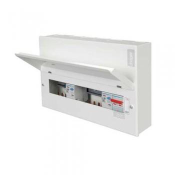 Hager Design 10 Metal 10 Way Split Load (5+5) Consumer Unit - 100A Switch + 2x100A 30mA RCCB