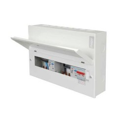 Hager Design 10 Metal 10 Way Split Load (5+5) Consumer Unit with Round Knockouts - 100A Switch + 2x100A 3...