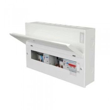 Hager Design 10 Metal 10 Way Split Load (5+5) Consumer Unit with Round Knockouts - 100A Switch + 2x100A 30mA RCCB