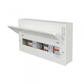 Hager Design 10 Metal 12 Way Split Load (6+6) Consumer Unit - 100A Switch + 2x100A 30mA RCCB
