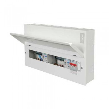 Hager Design 10 Metal 12 Way Split Load (6+6) Consumer Unit with Round Knockouts - 100A Switch + 2x100A 30mA RCCB