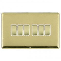 Hamilton Linea-Rondo CFX Polished Brass/Polished Brass 6 Gang 10amp 2 Way Rocker with White Insert