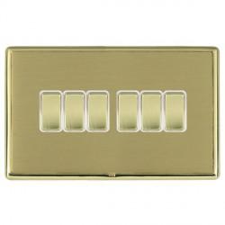 Hamilton Linea-Rondo CFX Polished Brass/Satin Brass 6 Gang 10amp 2 Way Rocker with White Insert