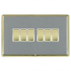 Hamilton Linea-Rondo CFX Polished Brass/Satin Steel 6 Gang 10amp 2 Way Rocker with White Insert