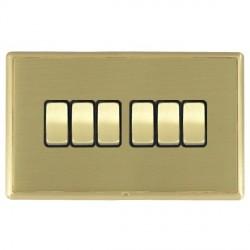 Hamilton Linea-Rondo CFX Satin Brass/Satin Brass 6 Gang 10amp 2 Way Rocker with Black Insert