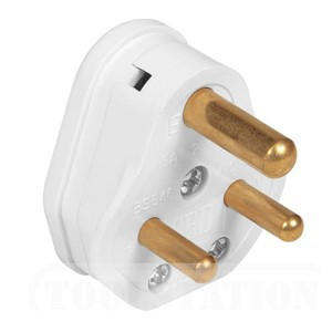CED White 15amp 3 Pin Plug Top