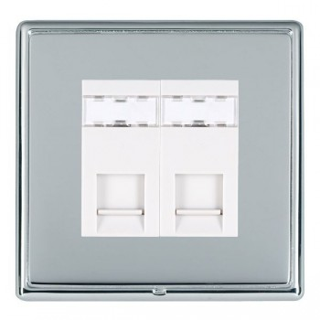 Hamilton Linea-Rondo CFX Bright Chrome/Bright Steel 2 Gang RJ12 Outlet Unshielded with White Insert