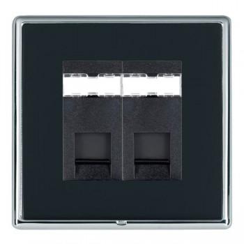 Hamilton Linea-Rondo CFX Bright Chrome/Piano Black 2 Gang RJ12 Outlet Unshielded with Black Insert