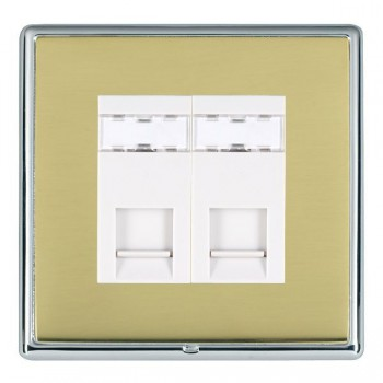 Hamilton Linea-Rondo CFX Bright Chrome/Polished Brass 2 Gang RJ12 Outlet Unshielded with White Insert
