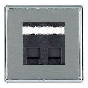 Hamilton Linea-Rondo CFX Bright Chrome/Satin Steel 2 Gang RJ12 Outlet Unshielded with Black Insert