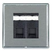 Hamilton Linea-Rondo CFX Bright Chrome/Satin Steel 2 Gang RJ12 Outlet Unshielded with Black Insert