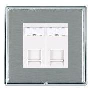 Hamilton Linea-Rondo CFX Bright Chrome/Satin Steel 2 Gang RJ12 Outlet Unshielded with White Insert